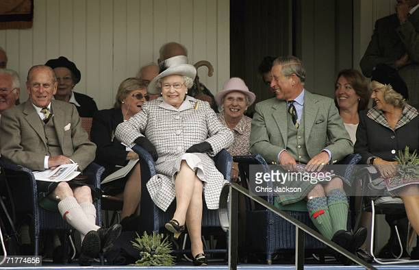 Prince Philip Duke of Edinburgh Queen Elizabeth II Prince Charles The Prince of Wales and Camilla Duchess of Cornwall watch Balmoral compete in the...