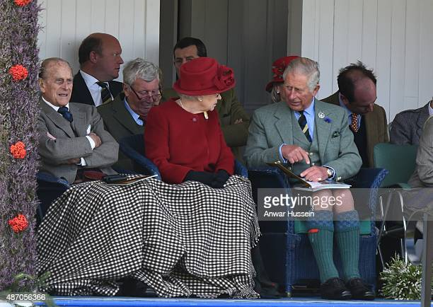 Prince Philip Duke of Edinburgh Queen Elizabeth ll and Prince Charles Prince of Wales attend the Braemar Highland Games on September 05 2015 in...
