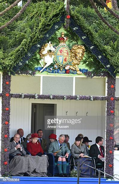 Prince Philip Duke of Edinburgh Queen Elizabeth ll Prince Charles Prince of Wales Autumn Phillips and Peter Phillips attend the Braemar Highland...