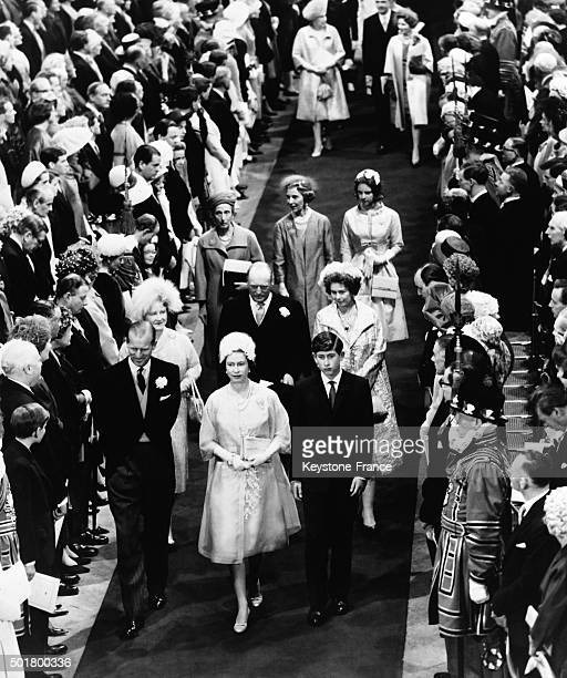 Prince Philip Duke of Edinburgh Queen Mother Queen Elizabeth and son Prince Charles at the Wedding Of Princess Alexandra Of Kent With The Honourable...