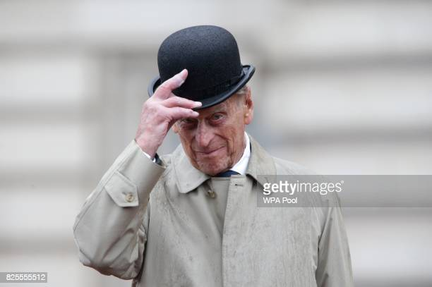 Prince Philip Duke of Edinburgh raises his hat in his role as Captain General Royal Marines makes his final individual public engagement as he...
