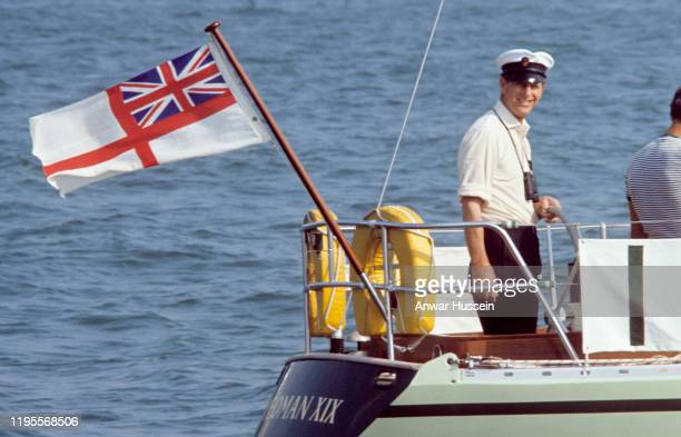 Prince Philip Duke of Edinburgh sails during the Cowes Royal Regatta off the Isle of Wight on August 01 1967 in Cowes England