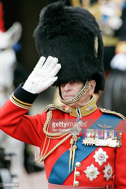 Prince Philip, Duke of Edinburgh salutes in ceremonial army uniform during the Trooping The Colour procession on June 16, 2007 in London, England.