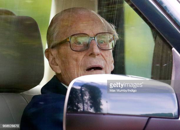 Prince Philip Duke of Edinburgh seen driving his Land Rover on day 5 of the Royal Windsor Horse Show in Home Park on May 13 2018 in Windsor England...