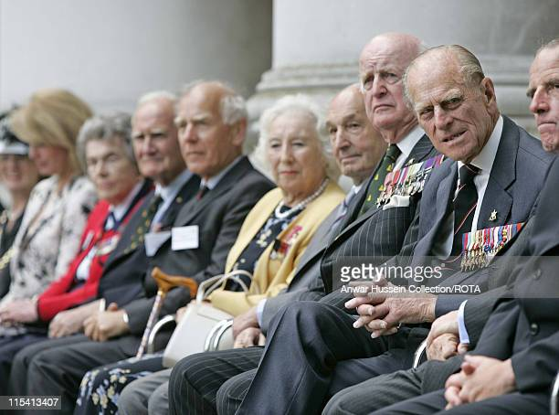 HRH Prince Philip Duke of Edinburgh sits with World War ll veterans including Dame Vera Lynn as they gather to commemorate the 60th anniversary of VJ...