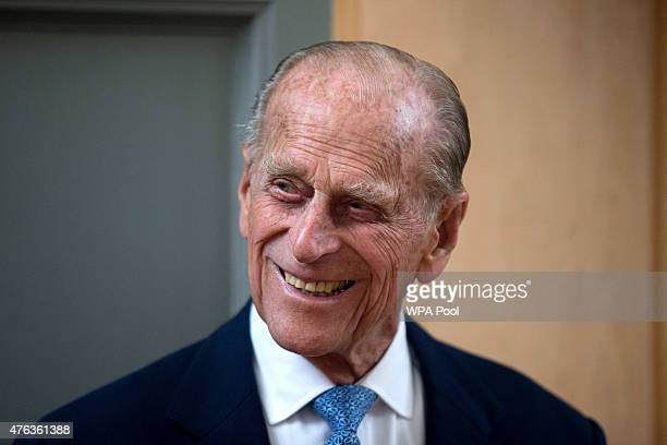 Prince Philip Duke of Edinburgh smiles after unveiling a plaque at the end of his visit to Richmond Adult Community College in Richmond on June 8...