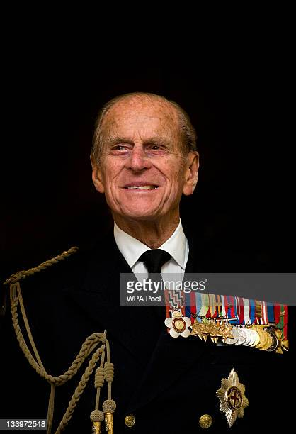 Prince Philip, Duke of Edinburgh smiles during a visit to the Admiralty Board and Admiralty House on 23 November, 2011 in London, England. The Duke...