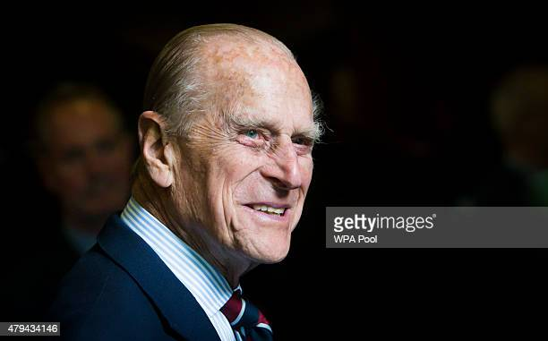 Prince Philip, Duke of Edinburgh smiles during a visit to the headquarters of the Royal Auxiliary Air Force's 603 Squadron on July 4, 2015 in...