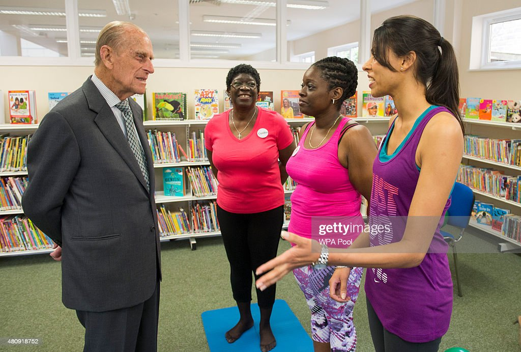 Prince Philip, Duke of Edinburgh speak to participants of a pilates class during a visit to Chadwell Heath Community Centre on July 16, 2015 in Chadwell Heath, United Kingdom.