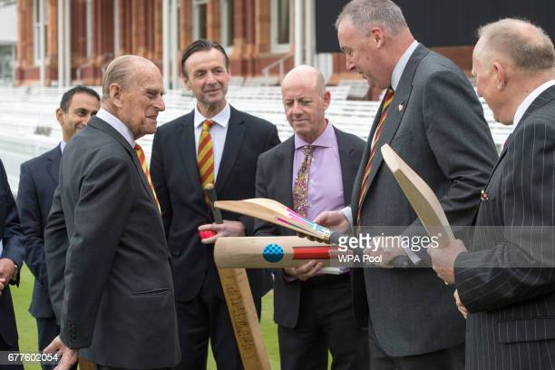 Prince Philip Duke of Edinburgh speaks to Angus Fraser as he opens the new Warner Stand at Lord's Cricket Ground on May 3 2017 in London England The...