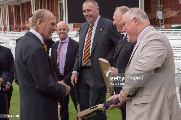 Prince Philip Duke of Edinburgh speaks to Mike Gatting as he opens the new Warner Stand at Lord's Cricket Ground on May 3 2017 in London England The...