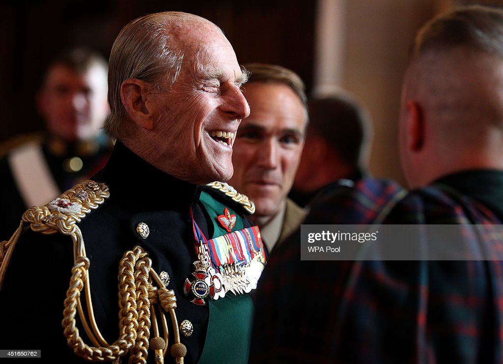 Prince Philip, Duke of Edinburgh speaks with guests in the Great Hall as he attended a commemorative service for the Scottish National War Memorial at Edinburgh Castle on July 3, 2014 in Edinburgh, Scotland.