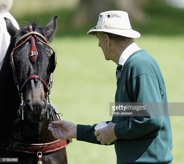 Prince Philip Duke of Edinburgh strokes Lady Penny Brabourne's horse after it competed in the Land Rover International Driving Grand Prix on May 11...