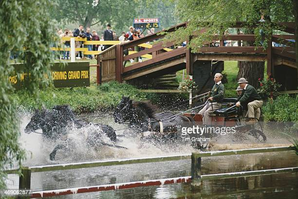 Prince Philip Duke of Edinburgh takes part in the Carriage Driving Championships in Windsor UK May 1994 His carriage had overturned earlier in the day
