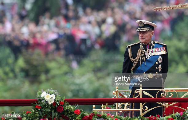 Prince Philip, Duke of Edinburgh takes part in The Thames River Pageant, as part of the Diamond Jubilee, marking the 60th anniversary of the...