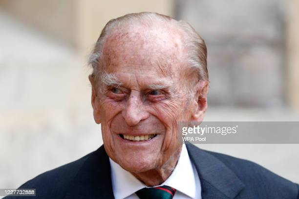 Prince Philip , Duke of Edinburgh takes part in the transfer of the Colonel-in-Chief of The Rifles at Windsor castle on July 22, 2020 in Windsor,...