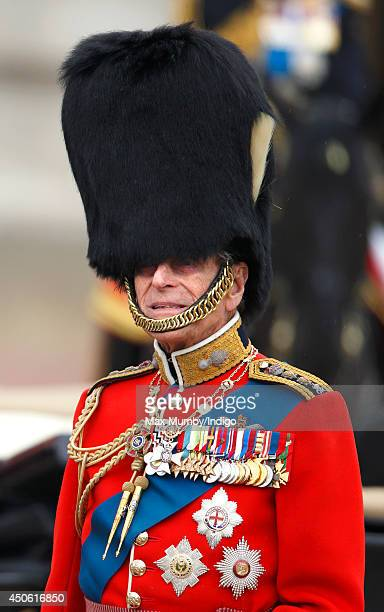 Prince Philip, Duke of Edinburgh takes the salute outside Buckingham Palace during Trooping the Colour, Queen Elizabeth II's Birthday Parade on June...