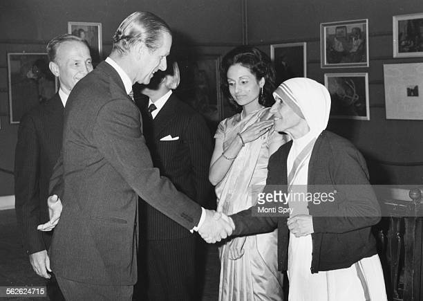 Prince Philip Duke of Edinburgh talking to Mother Teresa after she received a £34000 prize award for progress in religion Calcutta April 26th 1973