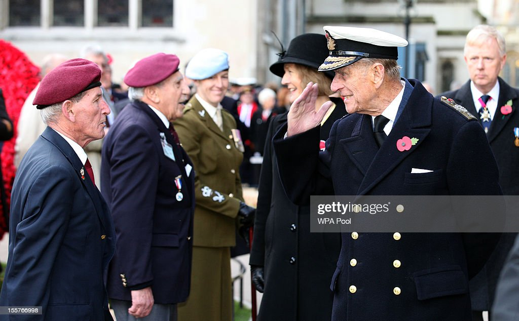 Prince Philip, Duke of Edinburgh, talks to a veteran as he attends the opening of the Royal British Legion's Field of Remembrance at Westminster Abbey on November 8, 2012 in London, England. Hundreds of small crosses bearing a poppy have been planted in a Field of Remembrance in a tribute to British servicemen and women who have lost their lives in conflict.