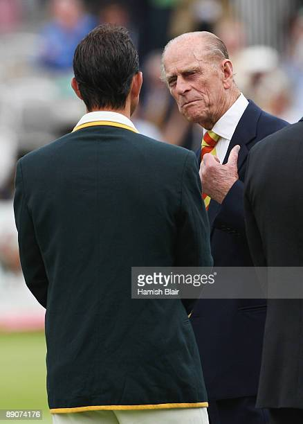 Prince Philip Duke of Edinburgh talks to Australian captain Ricky Ponting during day two of the npower 2nd Ashes Test Match between England and...