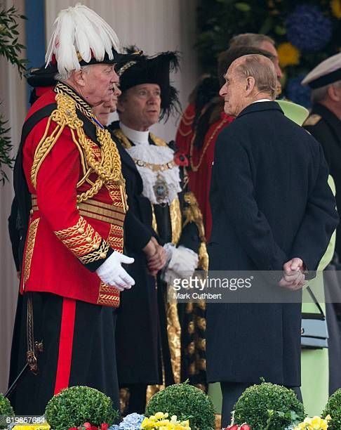 Prince Philip, Duke of Edinburgh talks to Lord Vestey at the Official Ceremonial Welcome for the Colombian State Visit at Horse Guards Parade on...