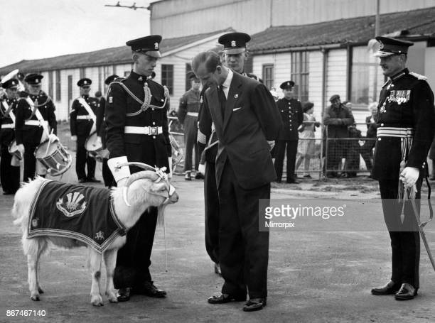 Prince Philip Duke of Edinburgh talks to the Goat Major and has a look at the Welch Regiment goat mascot before taking off from Pengam Moors Airport...
