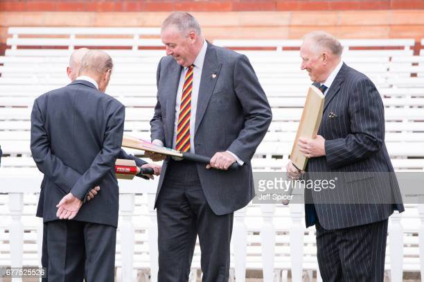 Prince Philip Duke of Edinburgh talks with Angus Fraser and Graham Monkhouse before he opens the new Warner Stand at Lord's Cricket Ground on May 3...