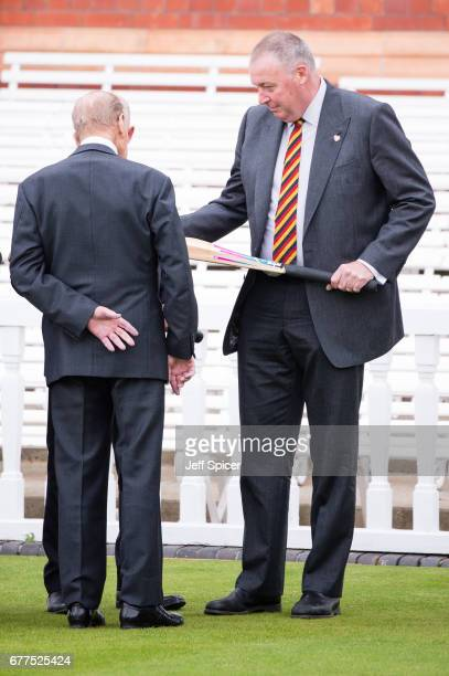 Prince Philip Duke of Edinburgh talks with Angus Fraser before he opens the new Warner Stand at Lord's Cricket Ground on May 3 2017 in London England...