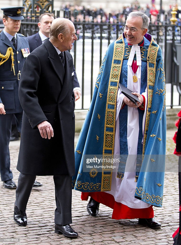 Prince Philip, Duke of Edinburgh talks with The Very Reverend Dr John Hall, Dean of Westminster as he arrives at Westminster Abbey to attend The Commonwealth Day Observance on March 11, 2013 in London, England. Queen Elizabeth II, who is the head of the Commonwealth, was due to attend the event, but cancelled as she continues her recovery after a brief illness. Commonwealth Day Observance takes place annually on the second Monday in March, and this year's theme is 'Opportunity Through Enterprise'.