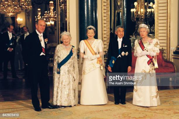 Prince Philip Duke of Edinburgh The Queen Mother Empress Michiko Emperor Akihito and Queen Elizabeth II pose for photographs prior to the state...