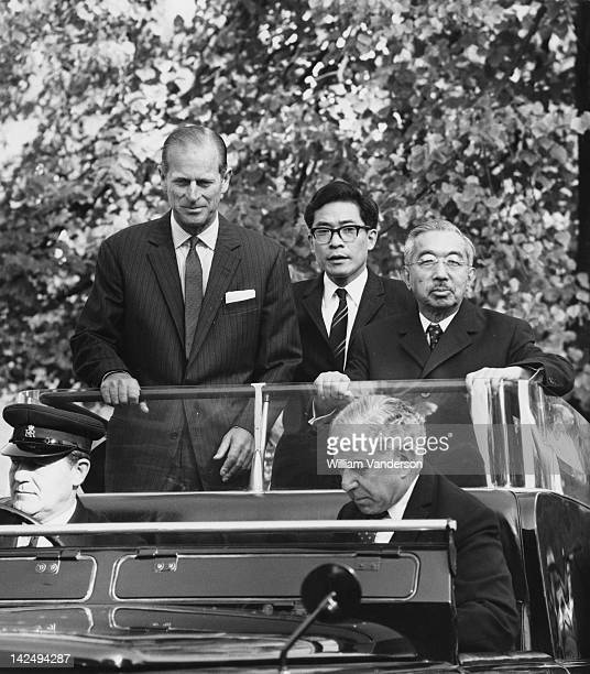 Prince Philip, Duke of Edinburgh touring London Zoo with Emperor Hirohito of Japan on the final day of the Emperor's state visit to Britain, 11th...