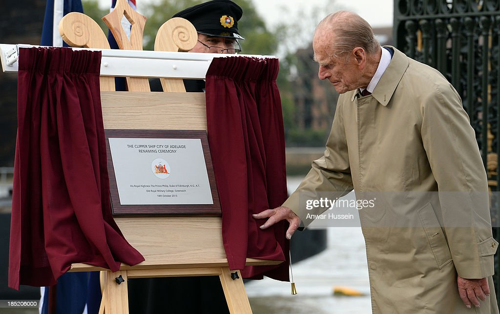 Prince Philip, Duke of Edinburgh unveils a plaque during the renaming ceremony for the clipper ship 'The City of Adelaide' on October 18, 2013 in London, England.