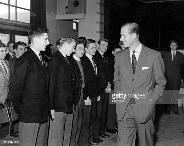 Prince Philip Duke of Edinburgh visits Liverpool A cheery smile from the Duke for the boys assembled in the hall at Morrison School 30th October 1959