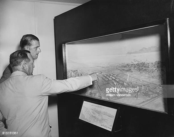 Prince Philip Duke of Edinburgh visits the Aden Petroleum Refinery an AngloIranian Oil Company refinery at Little Aden during a Commonwealth visit to...