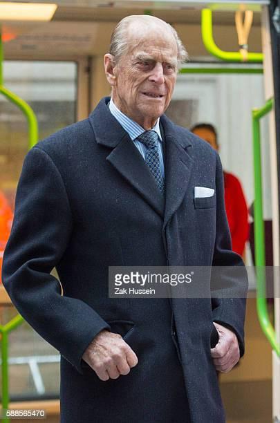 Prince Philip Duke of Edinburgh visits the Metroline Tramline Extension in Birmingham