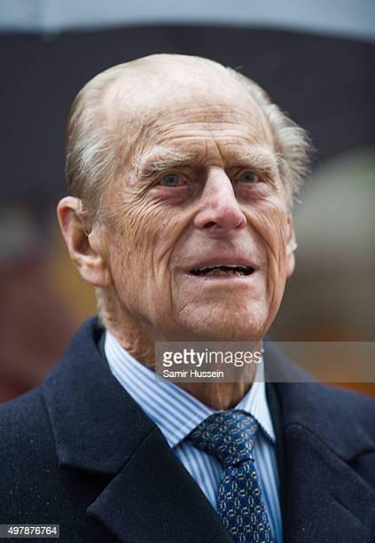 Prince Philip Duke of Edinburgh visits the Metroline Tramline Extension on November 19 2015 in Birmingham England