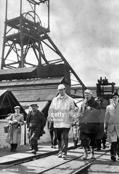 Prince Philip Duke of Edinburgh visits the Mosley Common Colliery Lancashire The Duke leaves No2 pit with Mr H Aspinall Pit Manager 4th April 1952