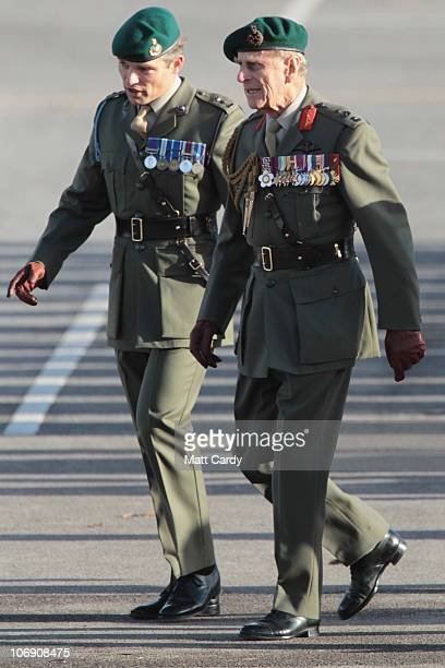 Prince Philip, Duke of Edinburgh walks after presenting Royal Marines from 40 Commando with their campaign medals following a six-month deployment in...