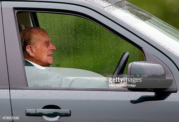 Prince Philip Duke of Edinburgh watches the Dressage phase of the Carriage Driving competition whilst sitting in his Land Rover on day 2 of the Royal...
