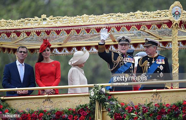 Prince Philip, Duke of Edinburgh waves as he stands with Catherine, Duchess of Cambridge, Camilla, Duchess of Cornwall and Prince Charles, Prince of...