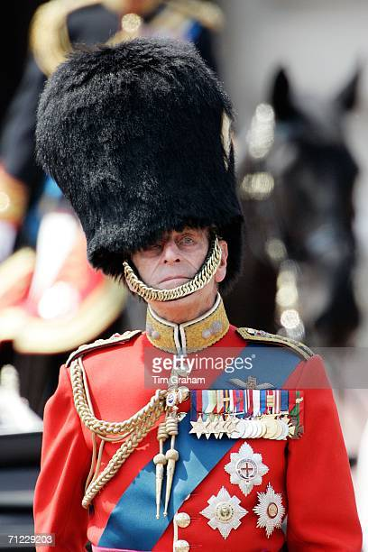 Prince Philip, Duke of Edinburgh wears a traditional bearskin hat and guardsman uniform at Trooping the Colour on June 17, 2006 in London, England.
