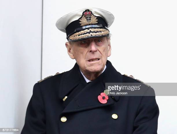 Prince Philip Duke of Edinburghl during the annual Remembrance Sunday memorial on November 12 2017 in London England The Prince of Wales senior...