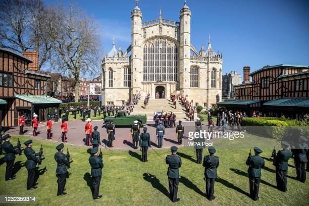 Prince Philip, Duke of Edinburgh's coffin is carried in to St George's chapel ahead of the funeral of Prince Philip, Duke of Edinburgh at Windsor...