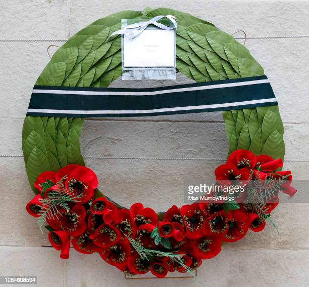 Prince Philip, Duke of Edinburgh's message and poppy wreath which was laid on his behalf during the National Service of Remembrance at The Cenotaph...