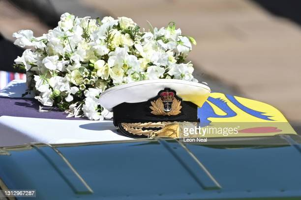 Prince Philip, Duke of Edinburgh's Royal Navy cap sits on his coffin, which covered with His Royal Highness's Personal Standard during the Ceremonial...