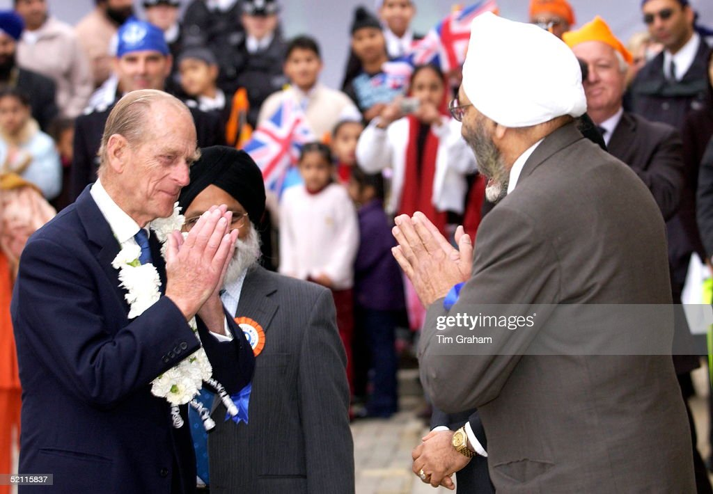 Prince Philip Giving The Namaste Yogic Greeting At The Opening Of Phase 2 Of The Gurdwara Sri Guru Singh Sabha Sikh Temple.