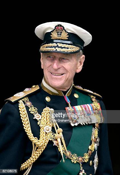 Prince Philip In Naval Uniform With Medals At St. Paul's Cathedral On The Day Of The Service To Mark The Golden Jubilee - The 50th Anniversary Of The...