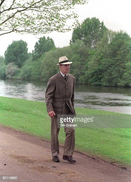 Prince Philip In Panama Sunhat Strolls By The River Thames In The Grounds Of Windsor Castle