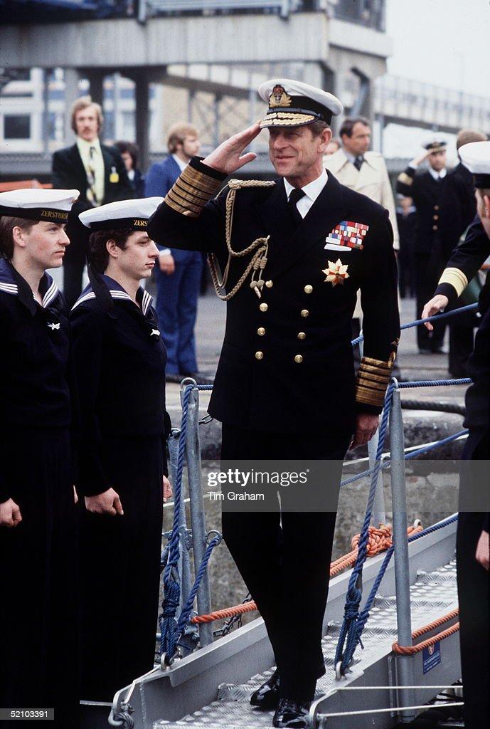 Philip Naval Uniform Salute : News Photo