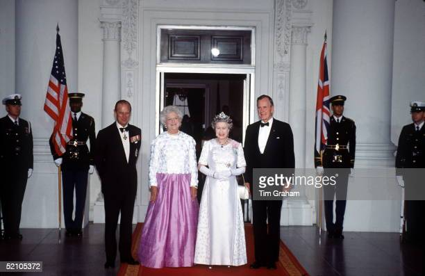 Prince Philip, Mrs Barbara Bush, President Of America George Bush And The Queen At The White House, Washington, USA.